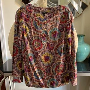 Talbots paisley long sleeve blouse top gold button